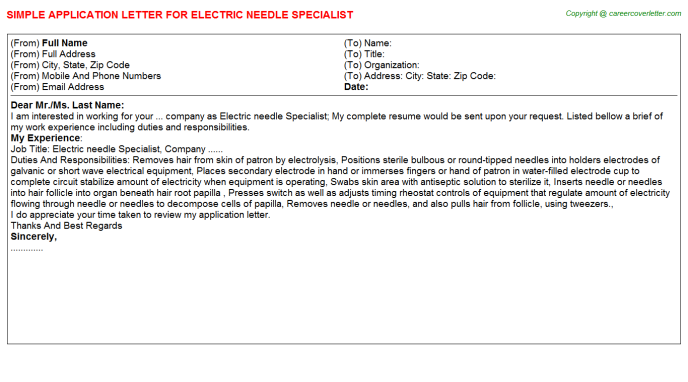 Electric Needle Specialist Application Letter Template