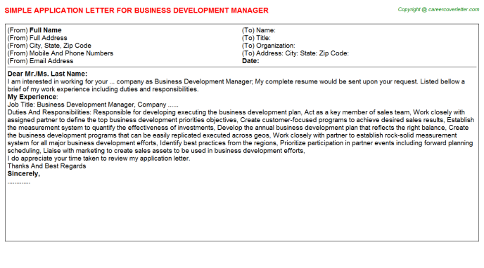 Business Development Manager Application Letter Template