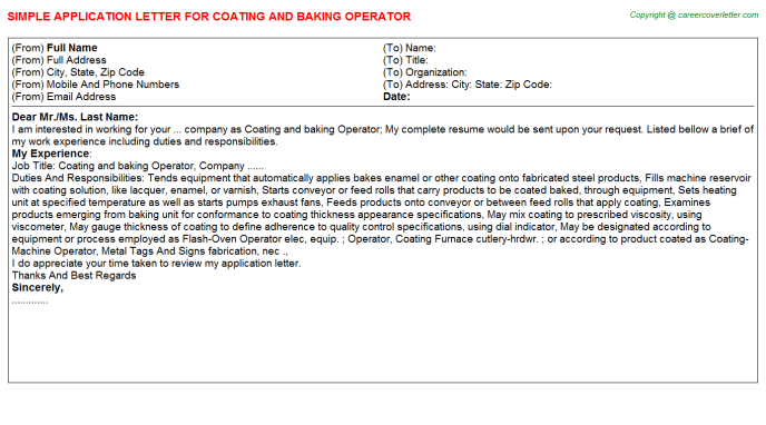 coating and baking operator application letter template
