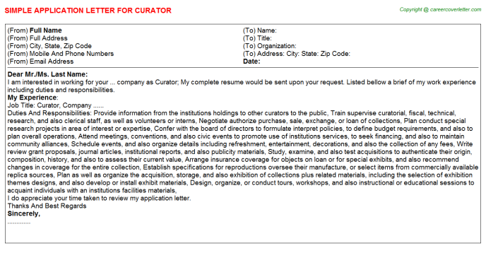 Curator Application Letter Template