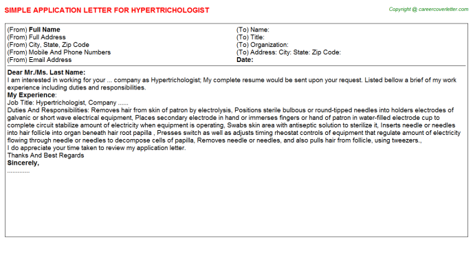 Hypertrichologist Application Letter Template