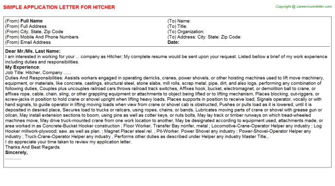 Hitcher Application Letter Template