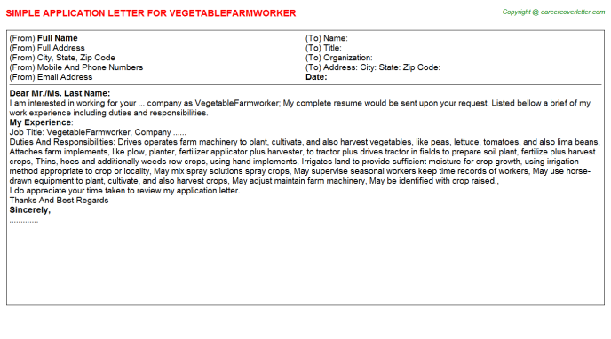 Vegetablefarmworker Application Letter Template