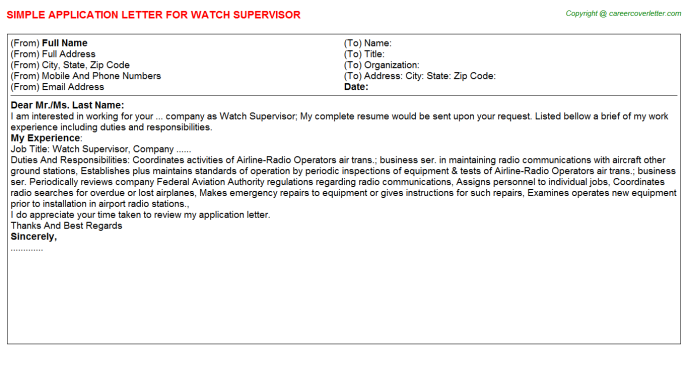 Watch Supervisor Application Letter Template