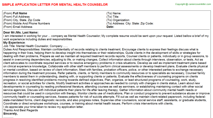 Mental Health Counselor Application Letter Template