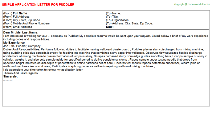 Puddler Application Letter Template