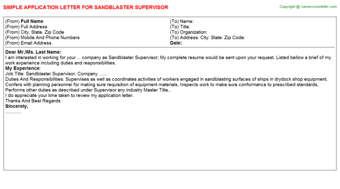 sandblaster supervisor application letter template