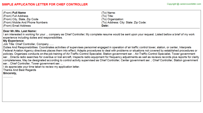 chief controller application letter template