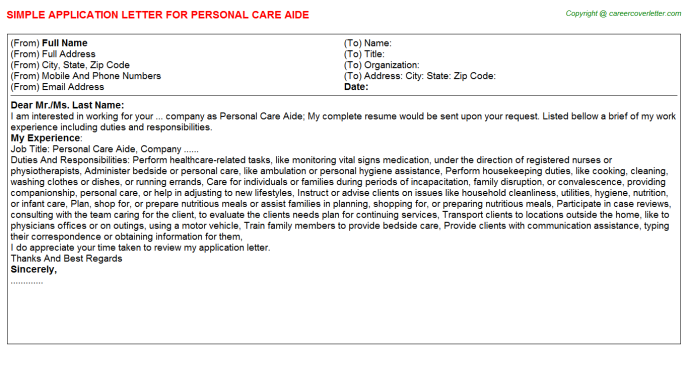 personal care aide application letter template