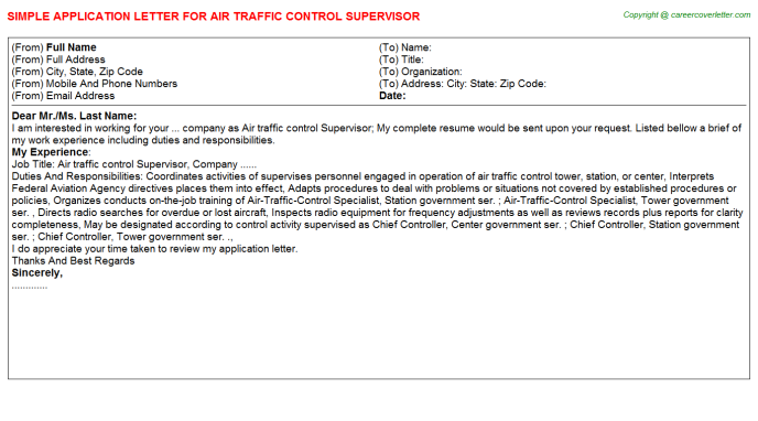 Air Traffic Control Supervisor Job Application Letters