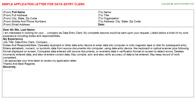 Data Entry Clerk Application Letter Template