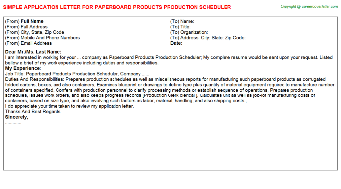 Paperboard Products Production Scheduler Job Application Letter Template