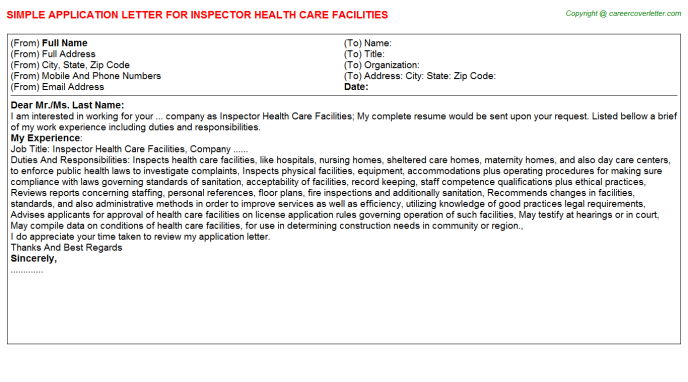 Inspector Health Care Facilities Job Application Letters