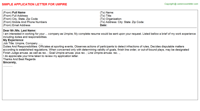 Umpire Application Letter Template