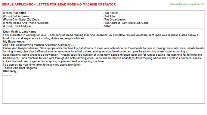 Bead Forming Machine Operator Application Letter Template