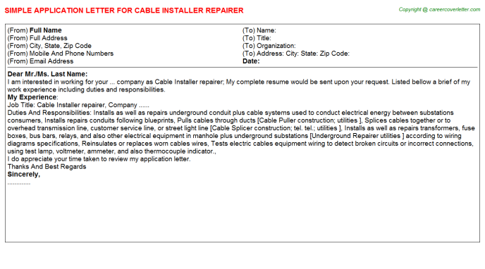 Cable Installer repairer Application Letter Template