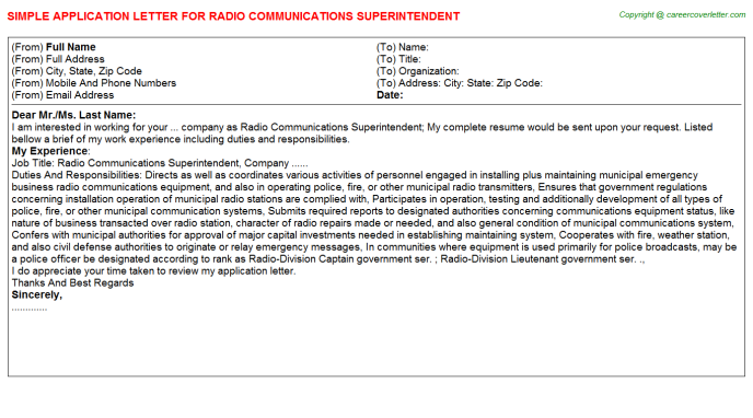 Radio Communications Superintendent Application Letter Template
