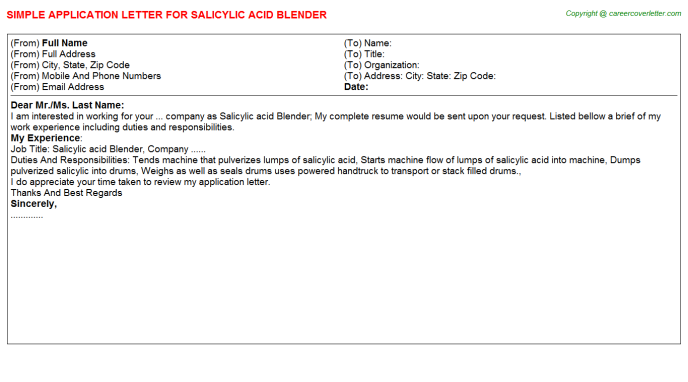 salicylic acid blender application letter template