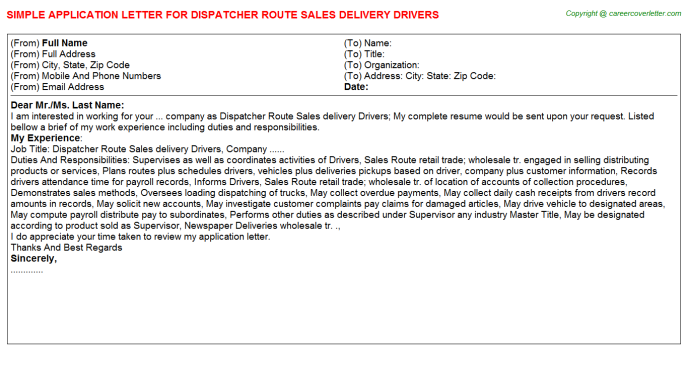 Dispatcher Route Sales Delivery Drivers Application Letter Template