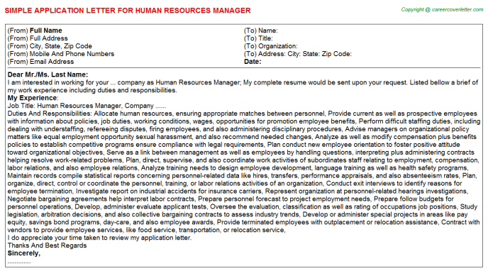 Human Resources Manager Job Application Letter Template