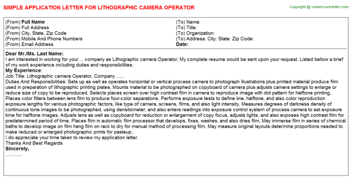 Lithographic Camera Operator Application Letter Template