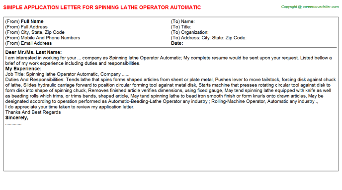 Spinning lathe Operator Automatic Job Application Letter Template