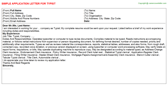 Typist Application Letter Template
