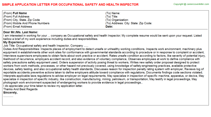 Occupational Safety And Health Inspector Application Letters