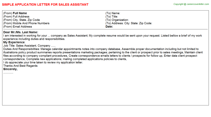 Sales Assistant Application Letter Template