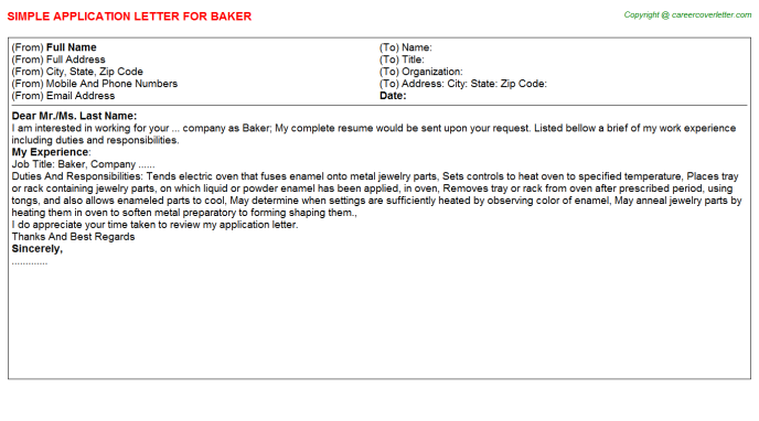 Baker Application Letter Template