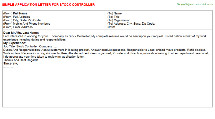 Stock Controller Application Letter Template