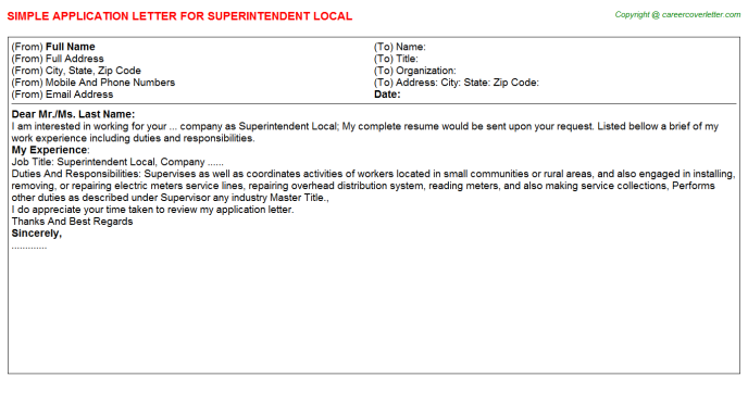 Superintendent Local Application Letter Template
