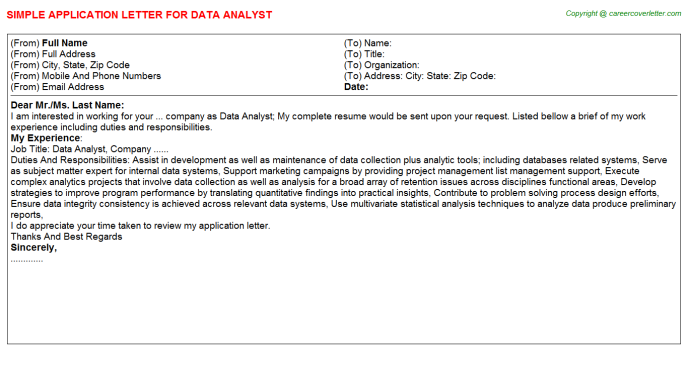 Data Analyst Application Letter Template