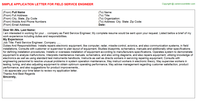 Field Service Engineer Job Application Letter