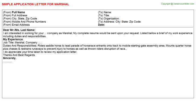 Marshal Application Letter Template