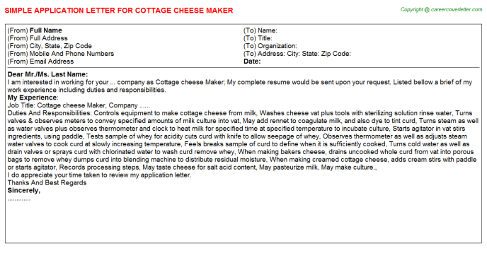 cottage cheese maker application letter template