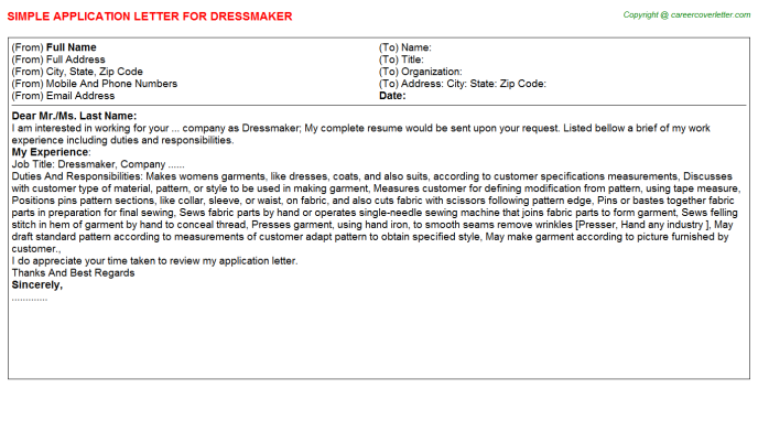 Dressmaker Application Letter Template