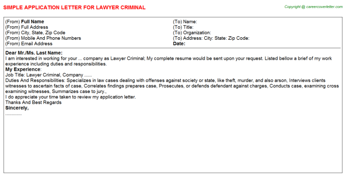 lawyer criminal application letter template
