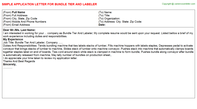 Bundle Tier And Labeler Application Letter Template