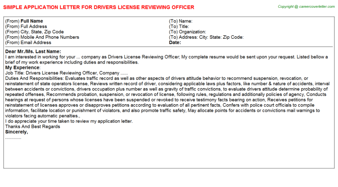 Drivers License Reviewing Officer Job Application Letter
