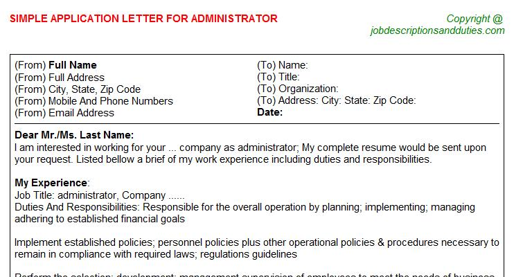 Administrator Job Application Letter Template
