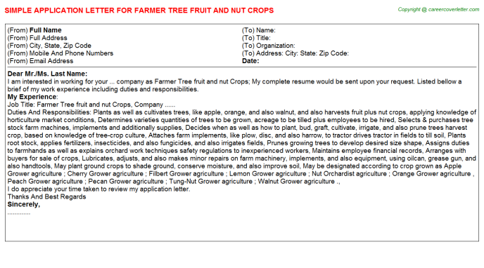 Farmer Tree fruit and nut Crops Application Letter Template