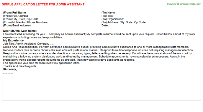 Admin Assistant Job Application Letter Template