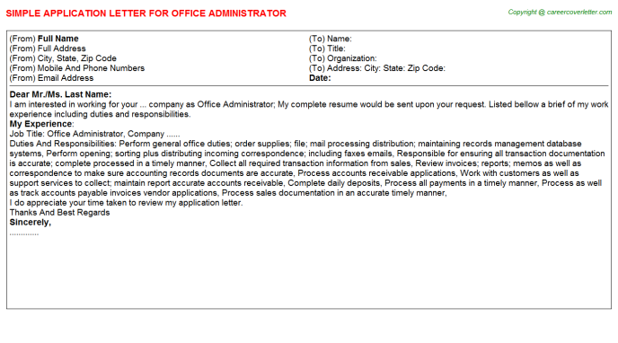 Office Administrator Application Letter Template
