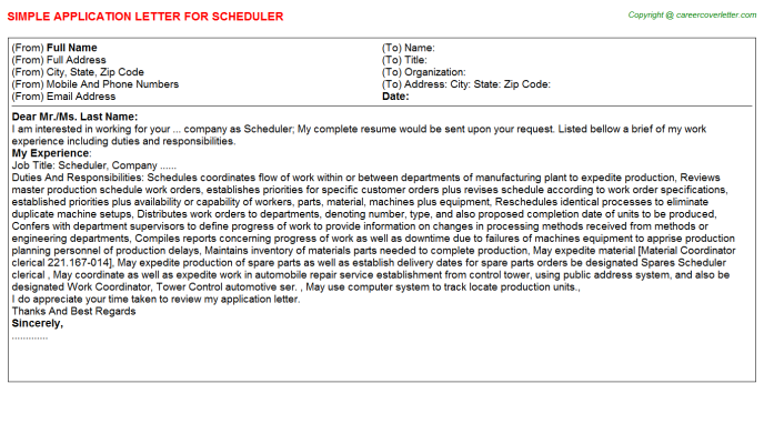 Scheduler Application Letter Template
