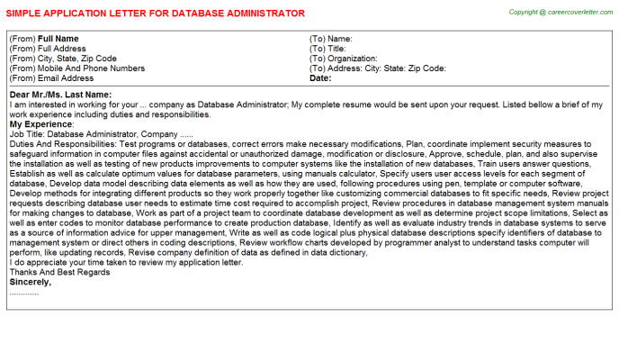 Database Administrator Application Letter Template