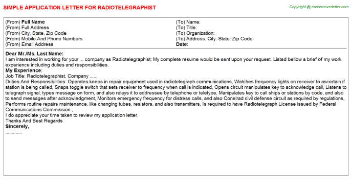 Radiotelegraphist Application Letter Template