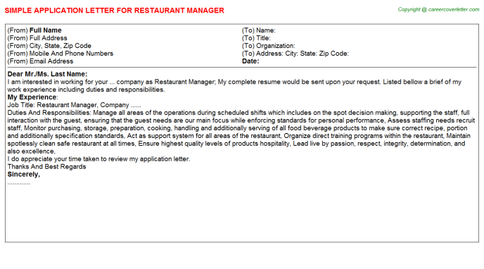 Restaurant Manager Application Letter Template