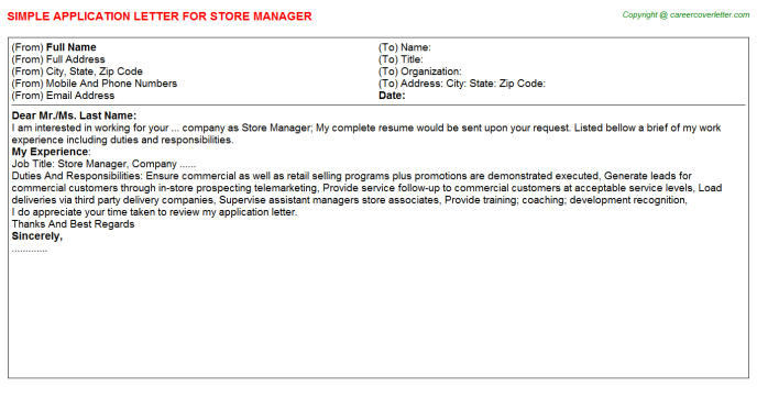 Store Manager Application Letter Template