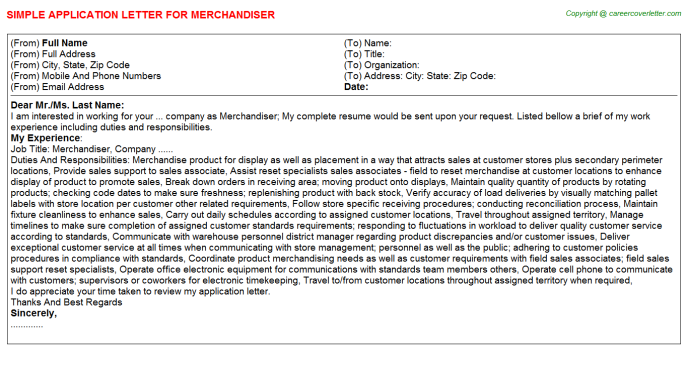 Merchandiser Application Letter Template